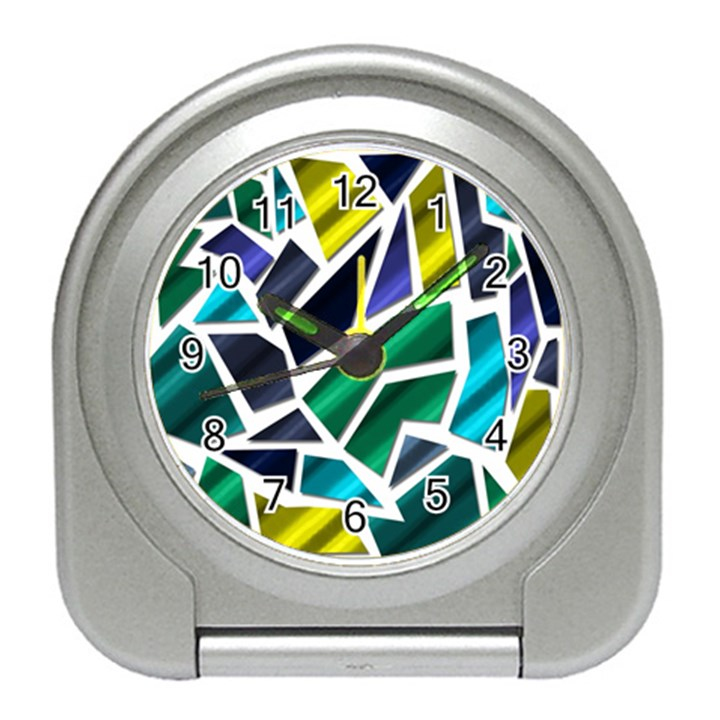 Mosaic Shapes Travel Alarm Clocks