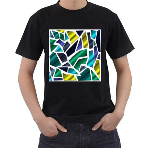 Mosaic Shapes Men s T-Shirt (Black) (Two Sided)