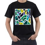 Mosaic Shapes Men s T-Shirt (Black) (Two Sided) Front