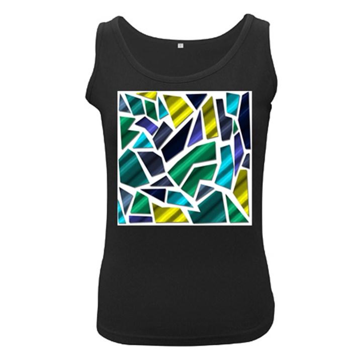 Mosaic Shapes Women s Black Tank Top
