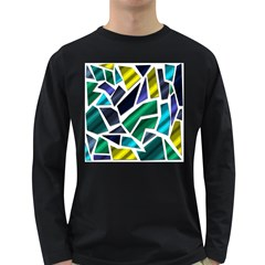 Mosaic Shapes Long Sleeve Dark T-Shirts