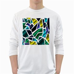 Mosaic Shapes White Long Sleeve T-Shirts