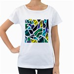 Mosaic Shapes Women s Loose-Fit T-Shirt (White) Front