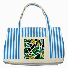 Mosaic Shapes Striped Blue Tote Bag