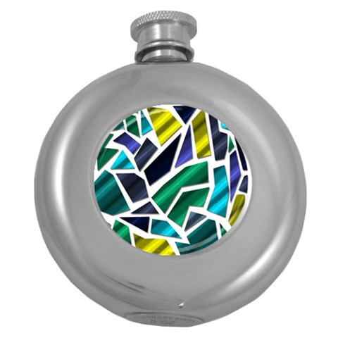 Mosaic Shapes Round Hip Flask (5 oz)