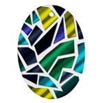Mosaic Shapes Oval Ornament (Two Sides) Front