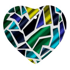 Mosaic Shapes Heart Ornament (2 Sides)