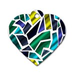 Mosaic Shapes Dog Tag Heart (One Side) Front