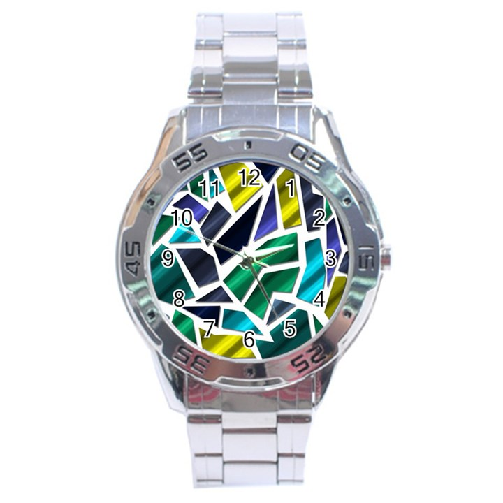 Mosaic Shapes Stainless Steel Analogue Watch