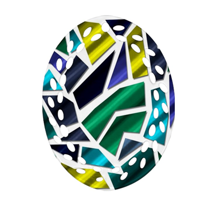 Mosaic Shapes Oval Filigree Ornament (2-Side)