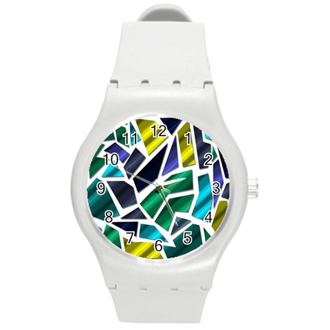 Mosaic Shapes Round Plastic Sport Watch (M)