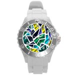 Mosaic Shapes Round Plastic Sport Watch (L) Front