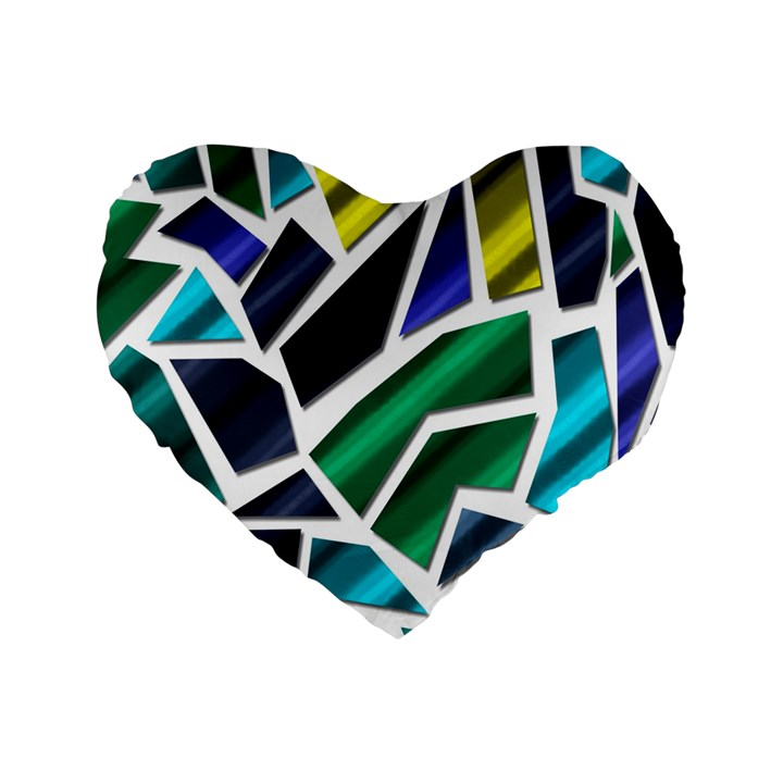 Mosaic Shapes Standard 16  Premium Heart Shape Cushions