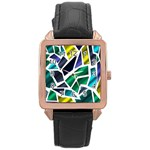 Mosaic Shapes Rose Gold Leather Watch  Front