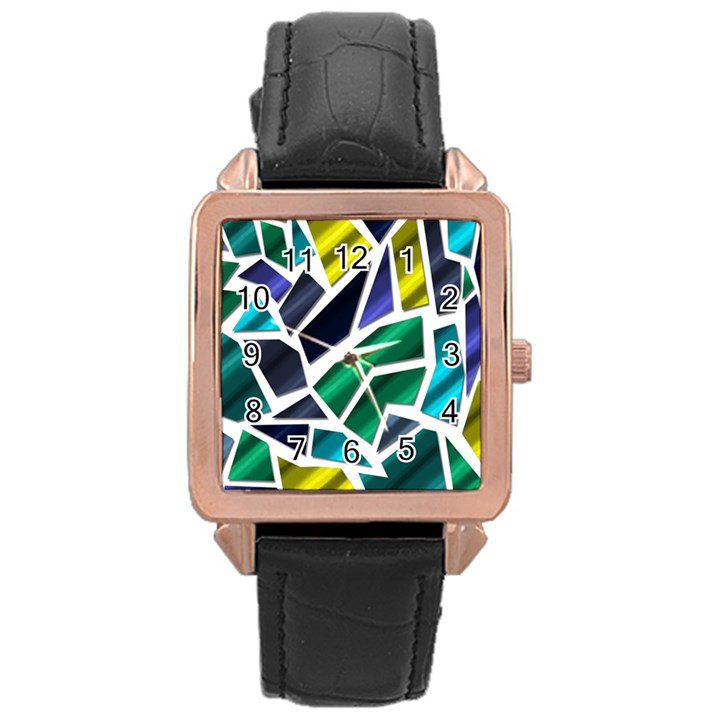 Mosaic Shapes Rose Gold Leather Watch