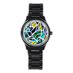 Mosaic Shapes Stainless Steel Round Watch