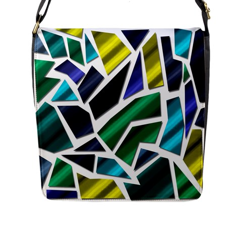 Mosaic Shapes Flap Messenger Bag (L)