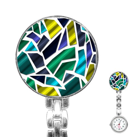 Mosaic Shapes Stainless Steel Nurses Watch