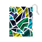 Mosaic Shapes Drawstring Pouches (Large)  Front