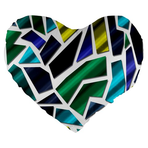 Mosaic Shapes Large 19  Premium Flano Heart Shape Cushions