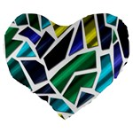 Mosaic Shapes Large 19  Premium Flano Heart Shape Cushions Back