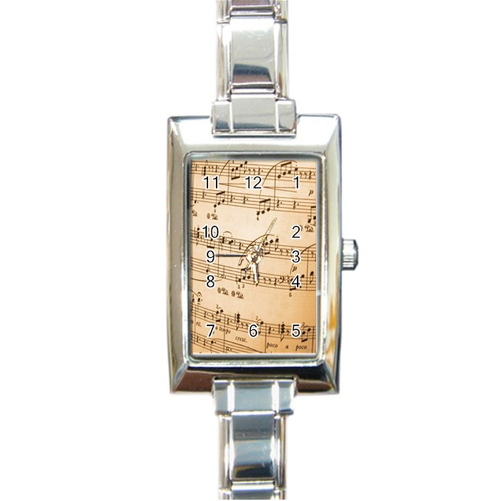 Music Notes Background Rectangle Italian Charm Watch