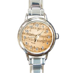 Music Notes Background Round Italian Charm Watch