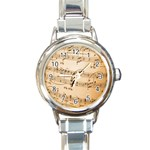 Music Notes Background Round Italian Charm Watch Front