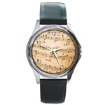 Music Notes Background Round Metal Watch Front