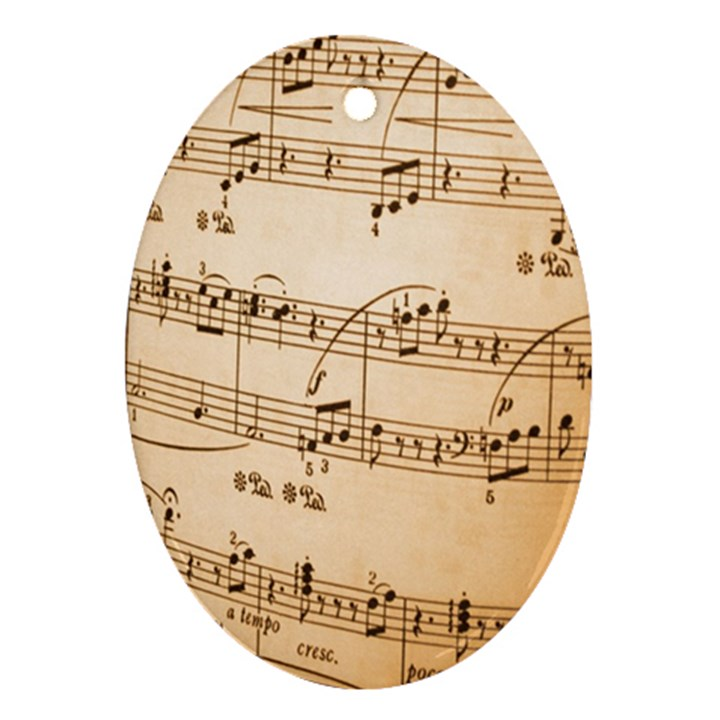 Music Notes Background Ornament (Oval)