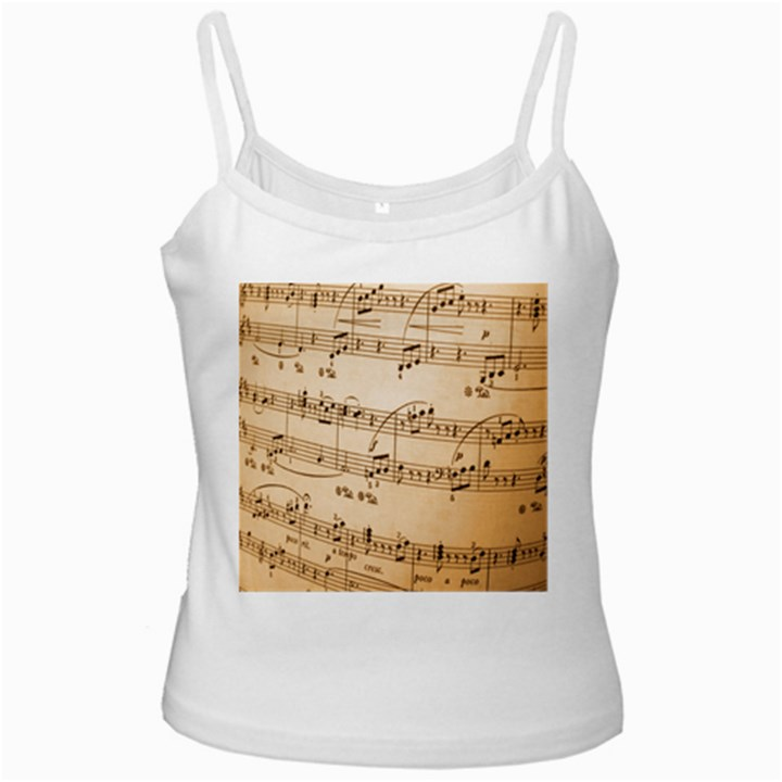 Music Notes Background White Spaghetti Tank