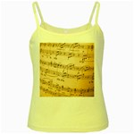 Music Notes Background Yellow Spaghetti Tank Front