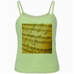 Music Notes Background Green Spaghetti Tank Front