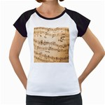 Music Notes Background Women s Cap Sleeve T Front