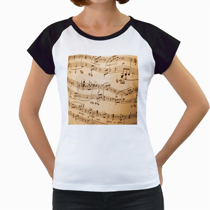 Music Notes Background Women s Cap Sleeve T