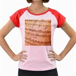 Music Notes Background Women s Cap Sleeve T-Shirt Front