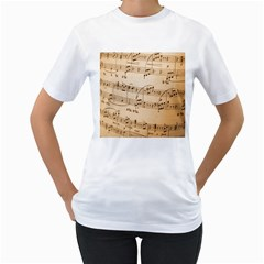 Music Notes Background Women s T-Shirt (White) (Two Sided)