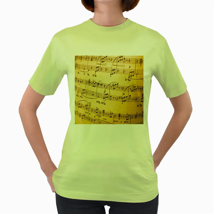 Music Notes Background Women s Green T-Shirt