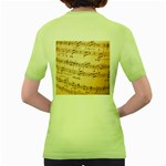 Music Notes Background Women s Green T-Shirt Back