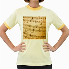 Music Notes Background Women s Fitted Ringer T-Shirts