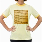 Music Notes Background Women s Fitted Ringer T-Shirts Front