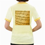 Music Notes Background Women s Fitted Ringer T-Shirts Back