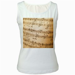 Music Notes Background Women s White Tank Top