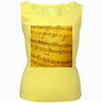 Music Notes Background Women s Yellow Tank Top Front