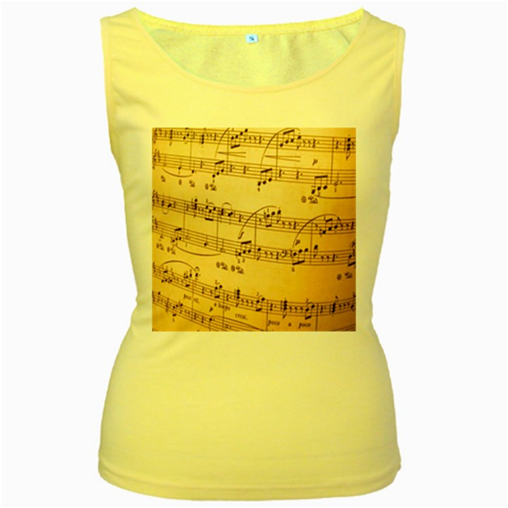 Music Notes Background Women s Yellow Tank Top