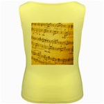 Music Notes Background Women s Yellow Tank Top Back
