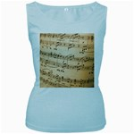Music Notes Background Women s Baby Blue Tank Top Front