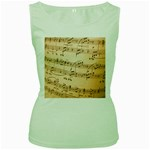 Music Notes Background Women s Green Tank Top Front