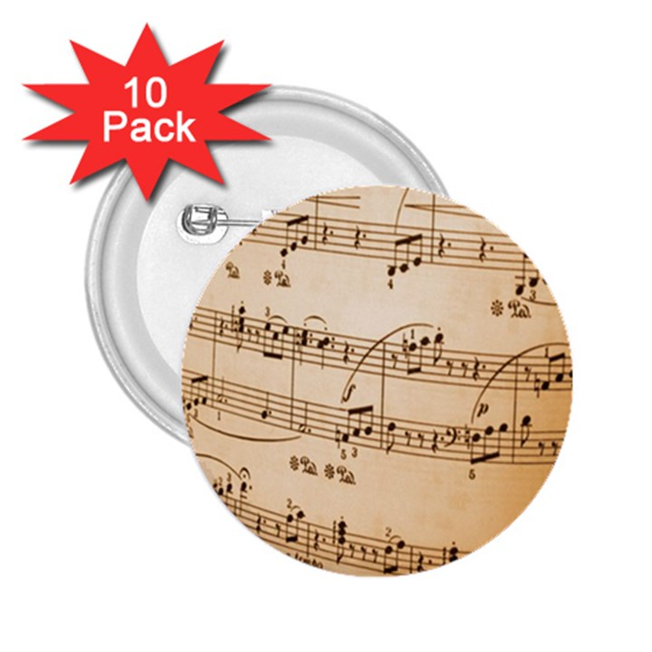Music Notes Background 2.25  Buttons (10 pack)