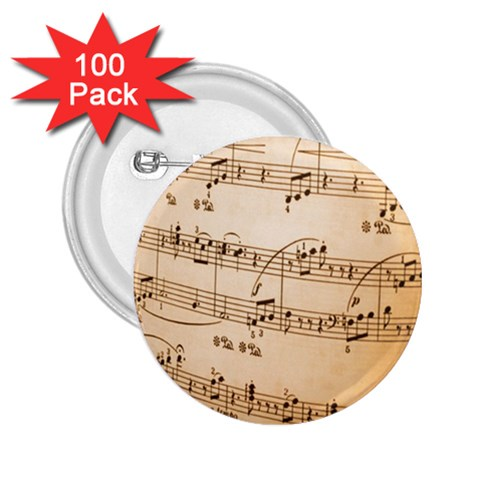 Music Notes Background 2.25  Buttons (100 pack)